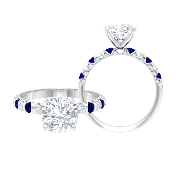 2.75 CT Moissanite Solitaire Ring with Created Blue Sapphire