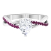 1.50 CT Pear Cut Moissanite and Rhodolite Twisted Infinity Ring