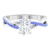 1.75 CT Moissanite Solitaire Ring with Tanzanite
