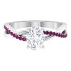1.75 CT Oval Cut Moissanite and Rhodolite Twisted Infinity Ring