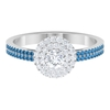 3/4 CT Diamond and Created Arctic Blue Sapphire Engagement Ring