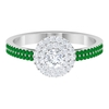 3/4 CT Diamond Engagement Ring with Emerald