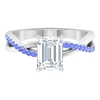 1.75 CT Moissanite Solitaire Ring with Tanzanite Accent