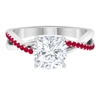 2.25 CT Cushion Cut Moissanite Engagement Ring with Ruby Accent
