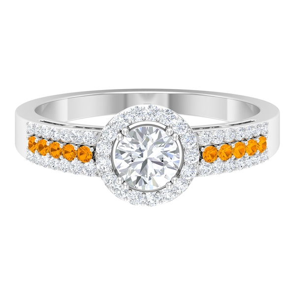 1 CT Solitaire Diamond and Created Orange Sapphire Engagement Ring