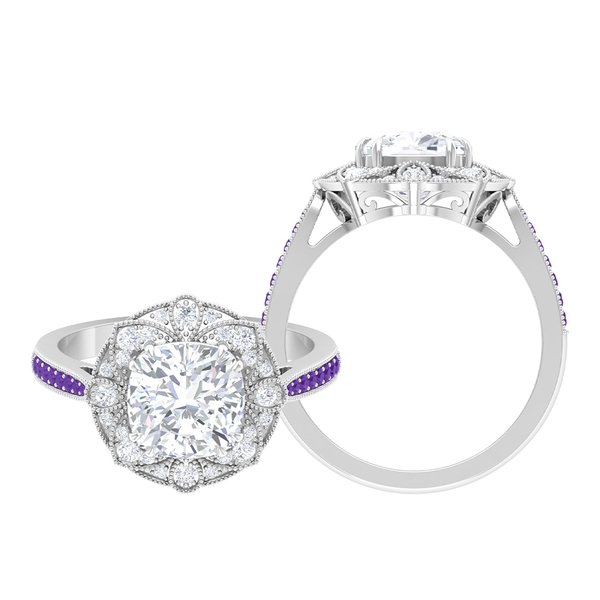 2.25 CT Moissanite and Created Lavender Amethyst Art Deco Engagement Ring