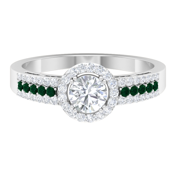 1 CT Classic Diamond Engagement Band Ring with Green Tourmaline