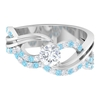 1 CT Solitaire Diamond and Created Aquamarine Twisted Infinity Engagement Ring