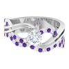 1 CT Diamond and Created Lavender Amethyst Twisted Infinity Engagement Ring