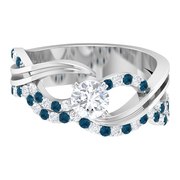1 CT Diamond and London Blue Topaz Twisted Infinity Ring for Women