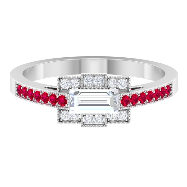 0.50 CT Baguette Cut Diamond Ring with Ruby Accent