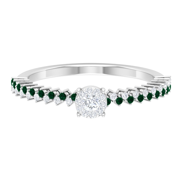 1/4 CT Solitaire Diamond and Green Tourmaline Promise Ring