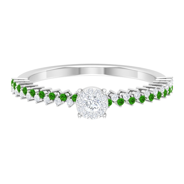1/4 CT Solitaire Diamond and Created Tsavorite Promise Ring