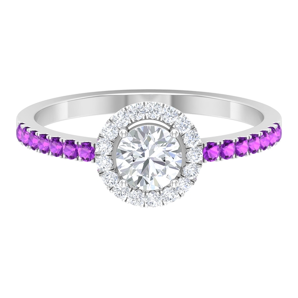 3/4 CT Diamond Promise Ring with Created Kunzite Accent
