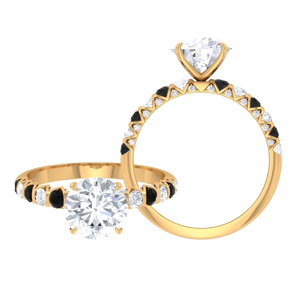 2.50 CT French Set Solitaire Moissanite and Black Spinel Ring