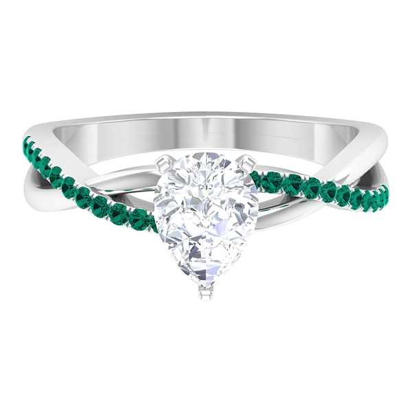 1.50 CT Pear Cut Moissanite and Created Russian Emerald Twisted Infinity Ring