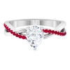 1.50 CT Pear Cut Moissanite and Ruby Twisted Infinity Ring