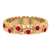 1/4 CT Bezel Set Ruby and Gold Bubble Engraved Band