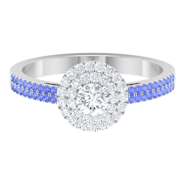 0.75 CT Diamond Double Halo Engagement Ring with Created Tanzanite Side Stones