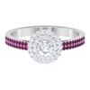 0.75 CT Diamond Double Halo Engagement Ring with Rhodolite Side Stones