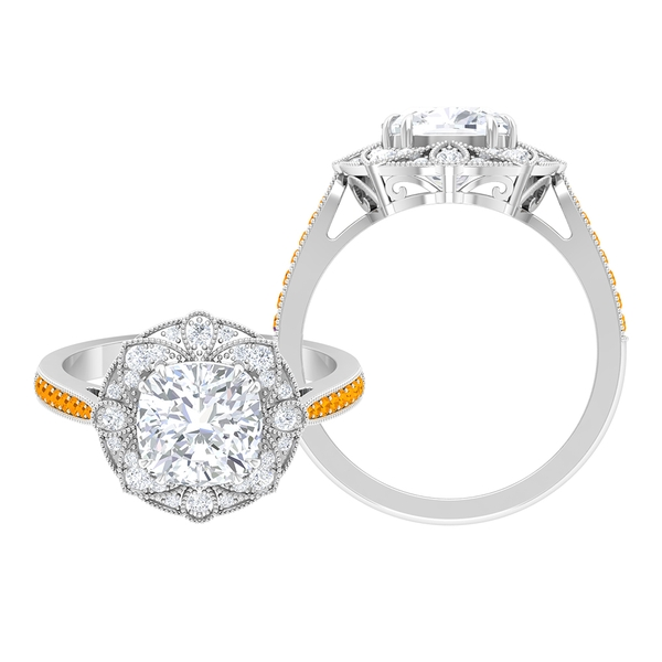 2.25 CT Moissanite Art Deco Engagement Ring with Created Orange Sapphire Side Stones