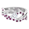 1 CT Diamond and Rhodolite Twisted Infinity Engagement Ring
