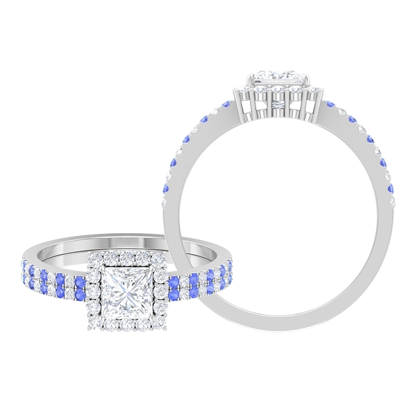 1.25 CT Princess Cut Diamond Double Halo Engagement Ring with Created Tanzanite Side Stones