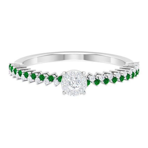 1/4 CT Solitaire Diamond and Created Emerald Anniversary Ring