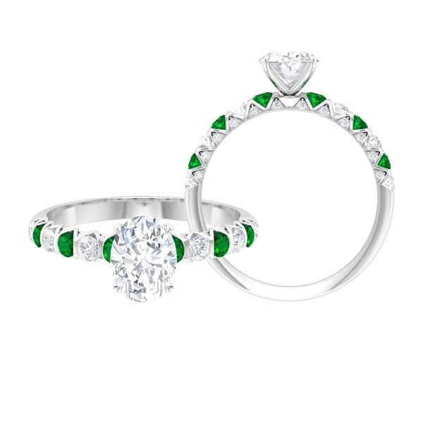2.25 CT Oval Cut Solitaire Moissanite and Created Emerald Ring