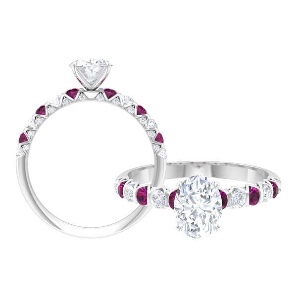 2 CT Oval Cut Moissanite and Rhodolite Ring for Women