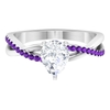 1.75 CT Pear Cut Moissanite and Amethyst Twisted Infinity Ring