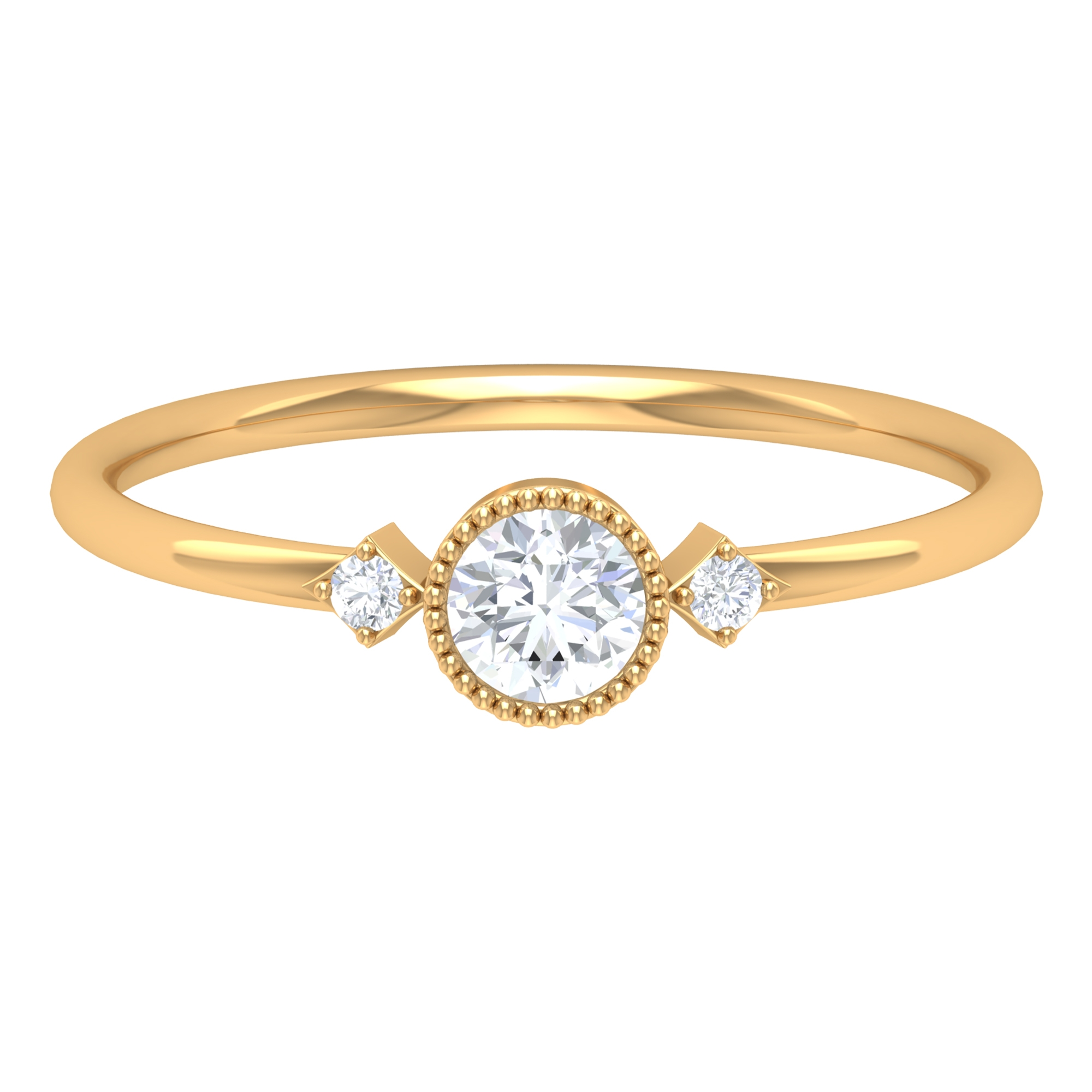 1/4 CT Solitaire Diamond Ring in Beaded Bezel Setting