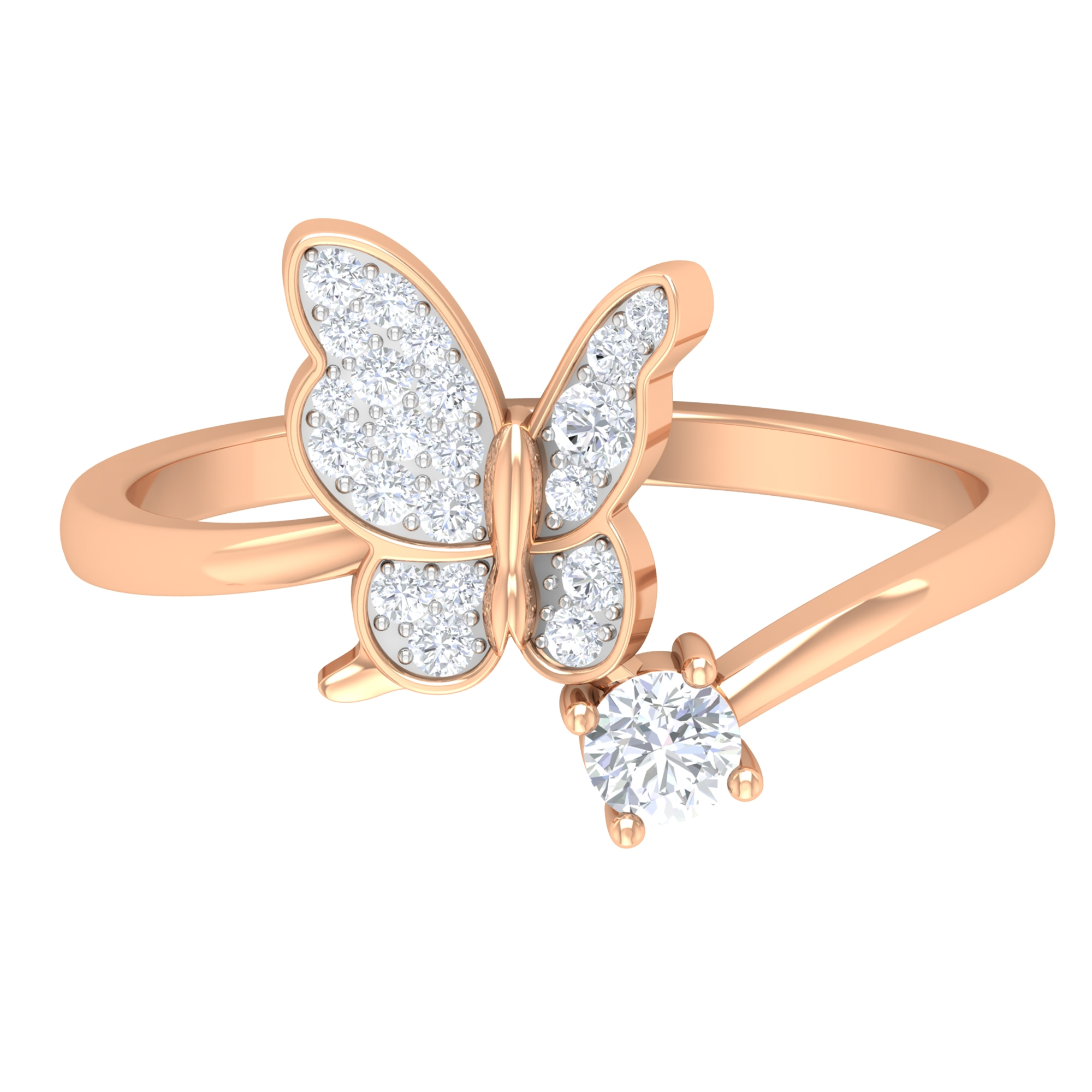 1/4 CT Prong Set Diamond and Gold Butterfly Ring for Women