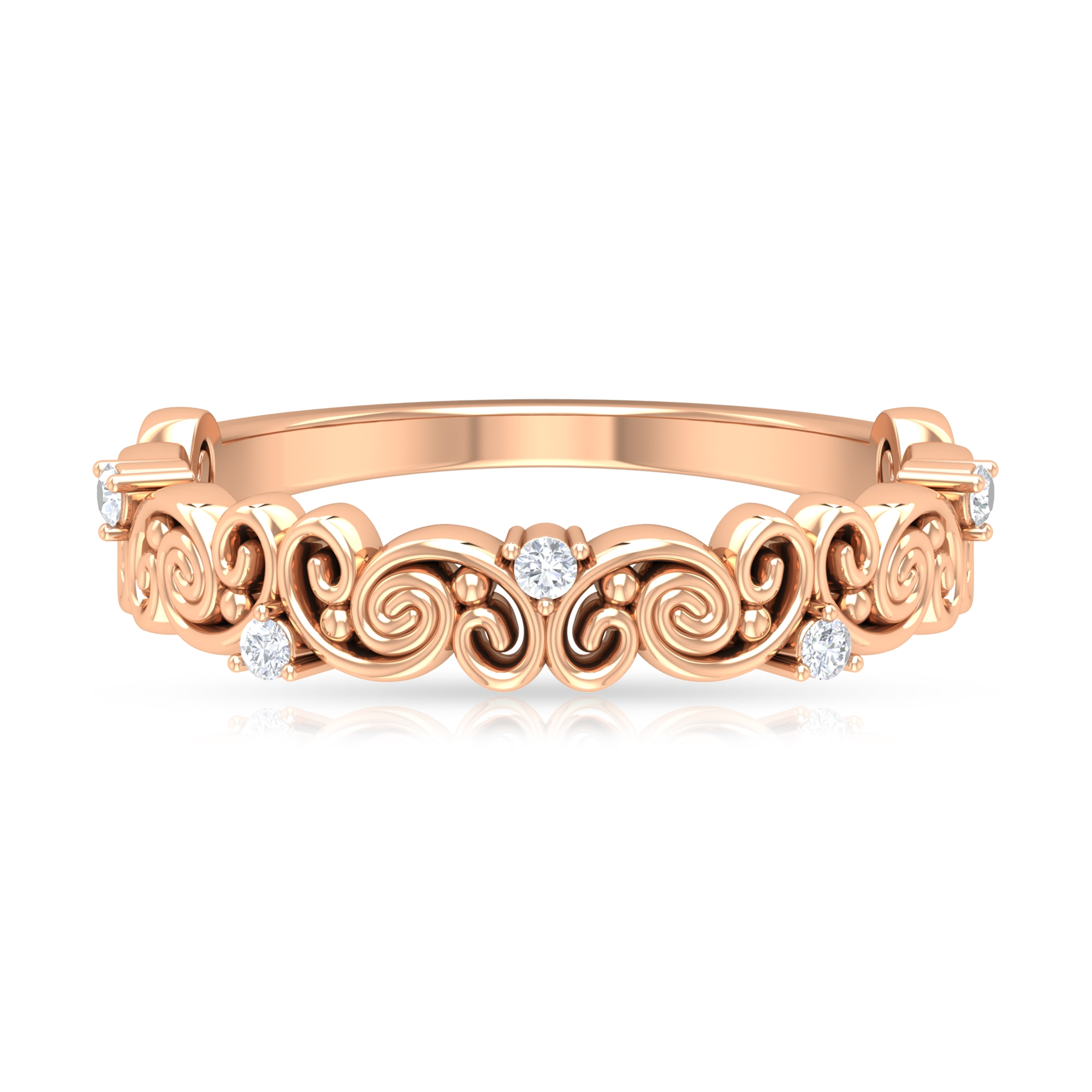 Diamond and Gold Swirl Band Ring for Women