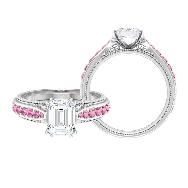 2 CT Octagon Cut Moissanite Vintage Ring with Pink Tourmaline Side Stones