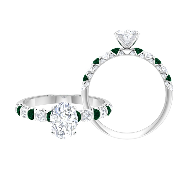 2 CT Claw Set Solitaire Moissanite and Green Tourmaline Ring