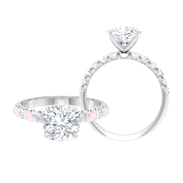 2.75 CT Claw Set Solitaire Moissanite and Created Pink Onyx Ring