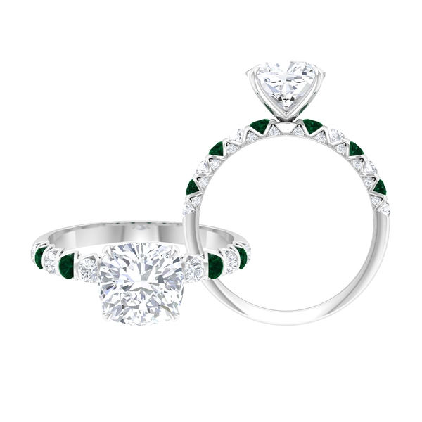 2.50 CT Claw Set Solitaire Moissanite and Green Tourmaline Ring