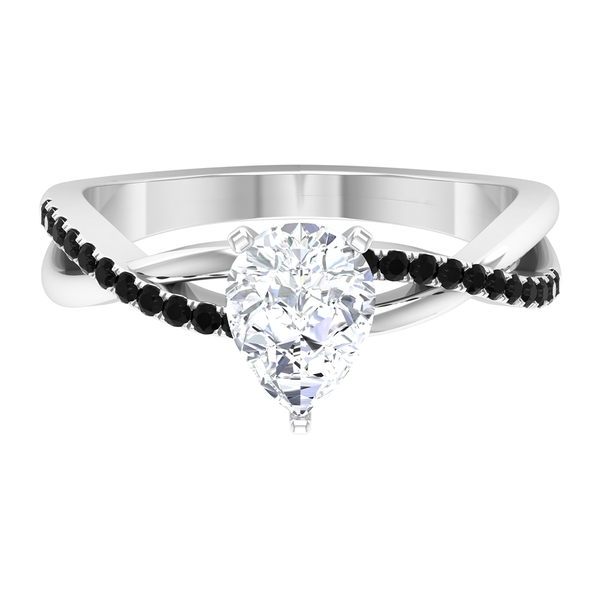 1.50 CT Pear Cut Moissanite Twisted Infinity Ring with Black Spinel Side Stones