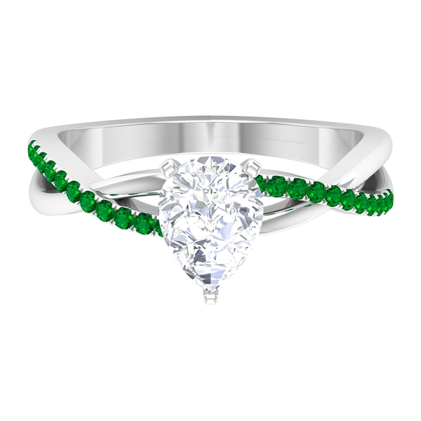 1.50 CT Pear Cut Moissanite Twisted Infinity Ring with Created Emerald Side Stones
