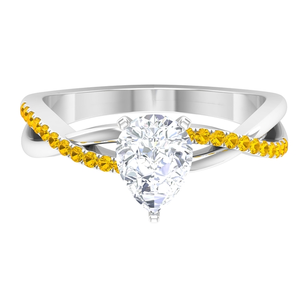 1.50 CT Pear Cut Moissanite Twisted Infinity Ring with Created Yellow Sapphire Side Stones