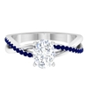 1.75 CT Oval Cut Moissanite Solitaire Ring with Blue Sapphire