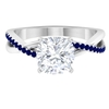 2.50 CT Solitaire Moissanite and Blue Sapphire Twisted Infinity Ring