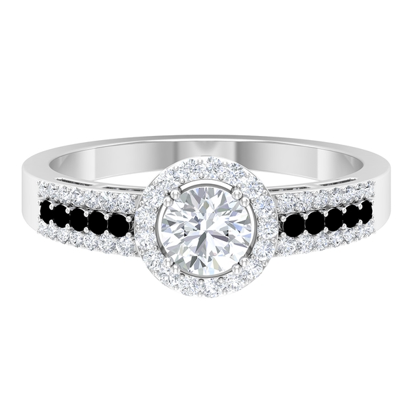 1 CT Solitaire Diamond Engagement Ring with Black Spinel