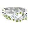1 CT Solitaire Diamond and Created Peridot Twisted Infinity Engagement Ring