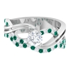 1 CT Diamond and Created Russian Emerald Twisted Infinity Engagement Ring