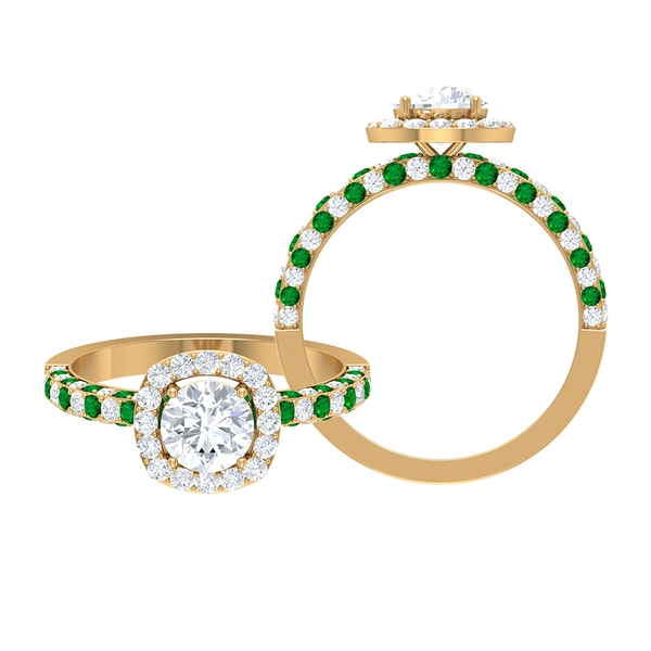1.75 CT Solitaire Moissanite and Created Emerald Engagement Ring