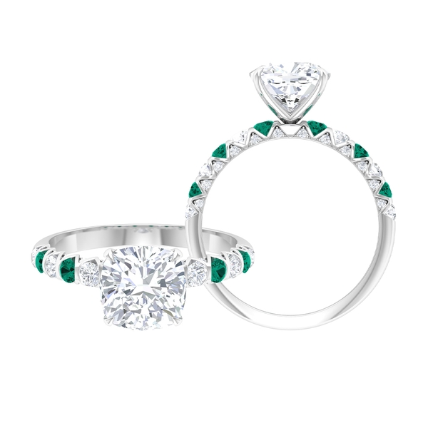 2.75 CT Solitaire Moissanite and Created Russian Emerald Ring