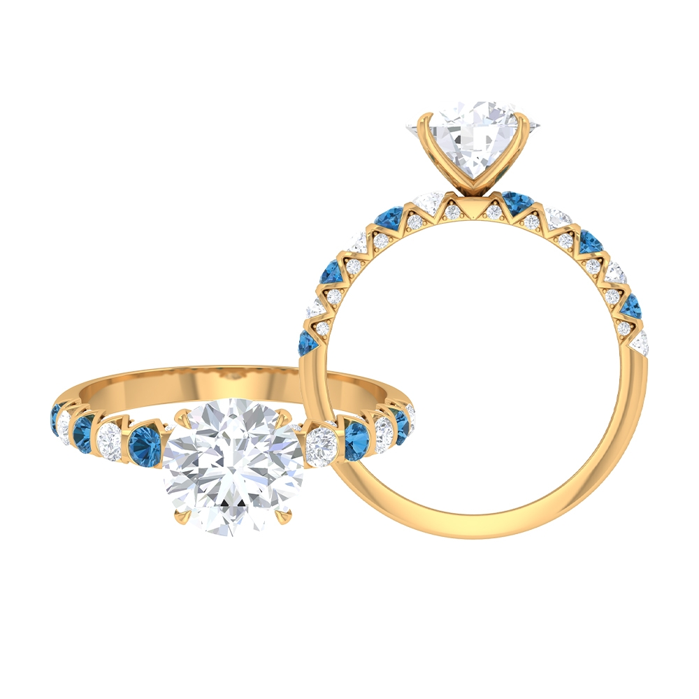 2.75 CT French Set Solitaire Moissanite and Created Arctic Blue Sapphire Ring