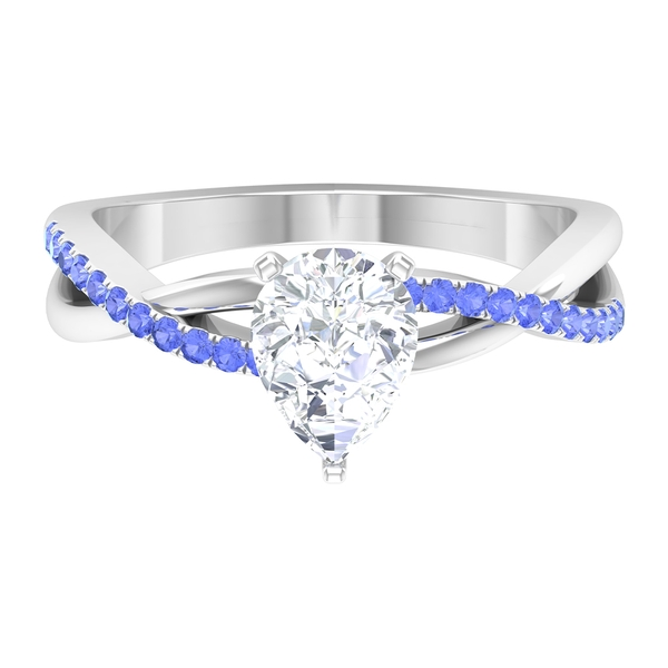 1.50 CT Pear Cut Moissanite Twisted Infinity Ring with Created Tanzanite Side Stones